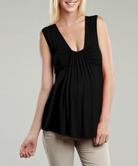 Black Pleated Maternity Top