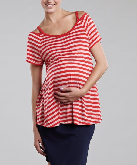 Red Stripes Maternity Cutout Tee