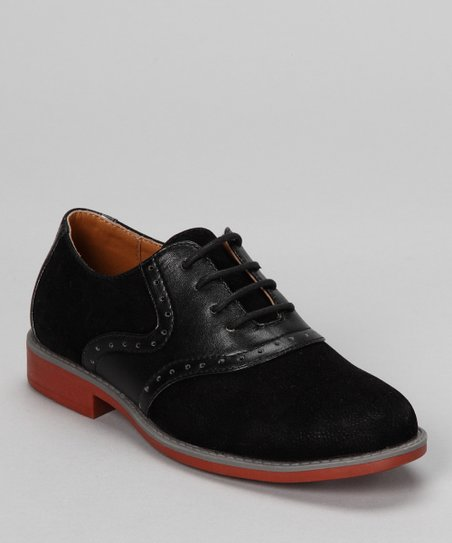 Black Faux Suede Saddle Oxford
