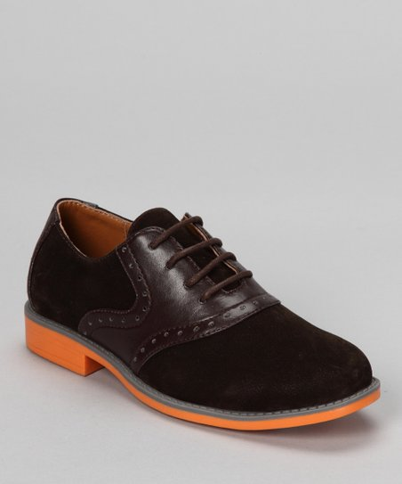 Brown Faux Suede Oxford