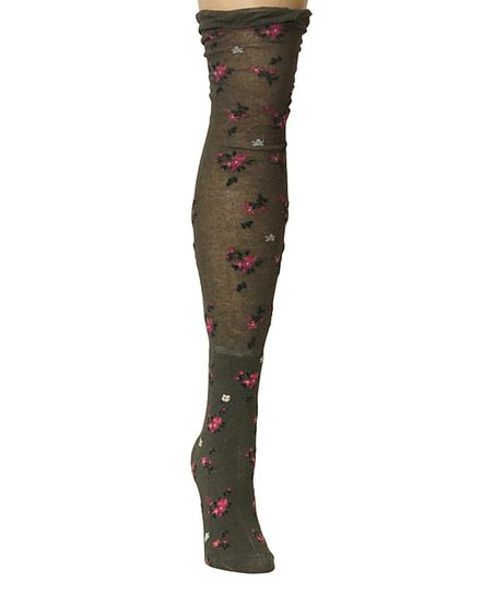 Dusty Olive Botanic OvertheKnee Socks