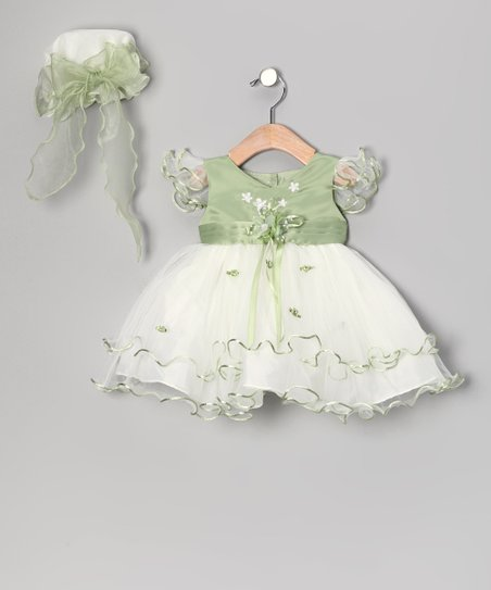 Sage Ruffle Dress & Bonnet - Infant & Toddler