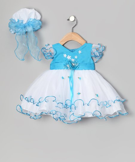 Turquoise Ruffle Dress & Bonnet - Infant & Toddler