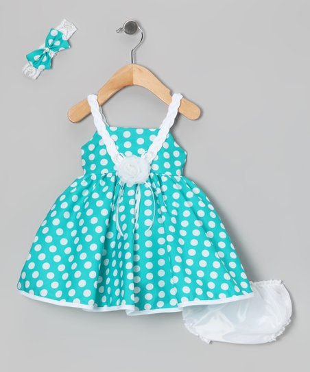 Green Polka Dot Dress Set - Infant