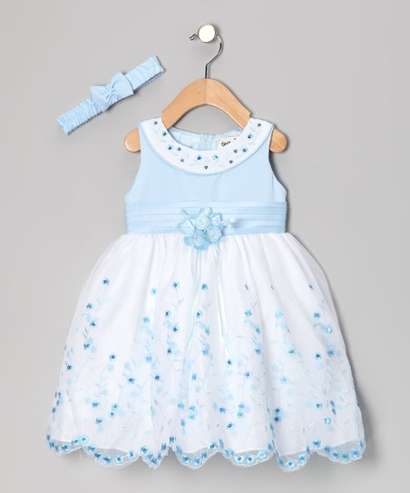 Blue Floral Yoke Dress & Headband - Infant