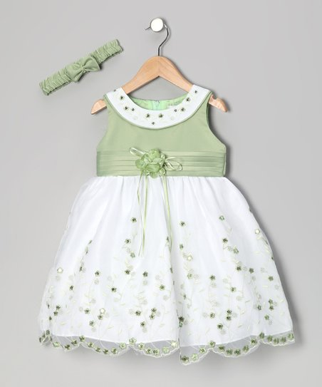 Sage Floral Yoke Dress &amp; Headband - Toddler