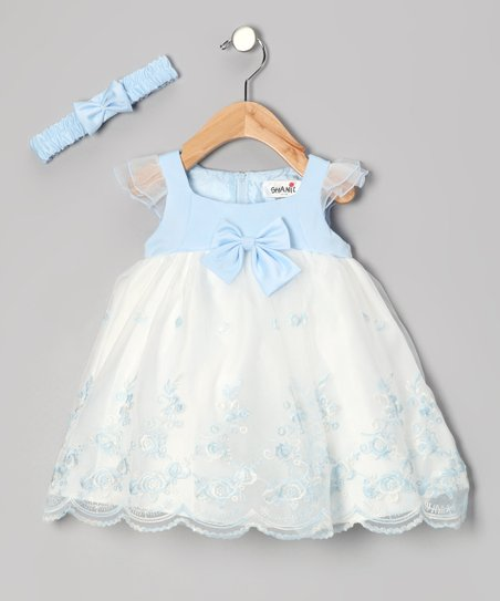 Blue Empire-Waist Dress & Headband - Infant & Toddler