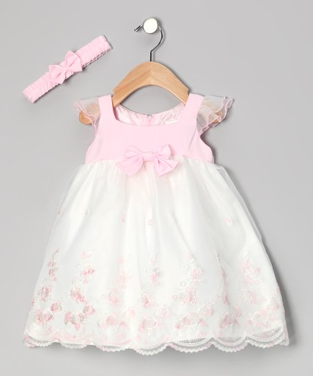Pastel Pink Empire-Waist Dress & Headband - Infant & Toddler