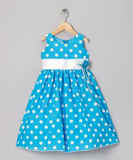 Blue Polka Dot & Ribbon Dress - Toddler & Girls