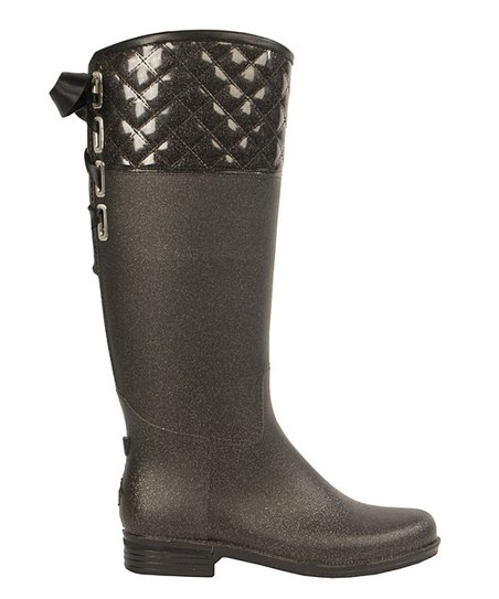 Gunmetal Quilted Victoria Rain Boot - Women