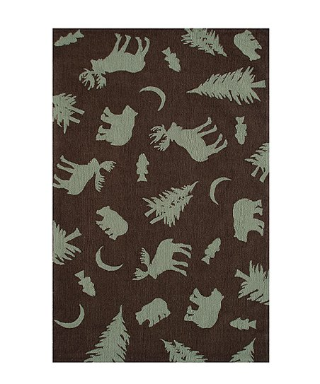 Brown &amp; Green Bears Silhouette Rug