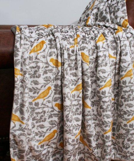 Yellow & Gray Selma Bird Throw