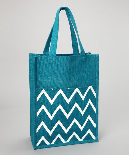 Blue Viola Chevron Jute Commuter Tote