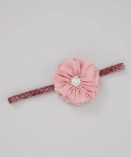 Dusty Pink Glitter Blossom Headband