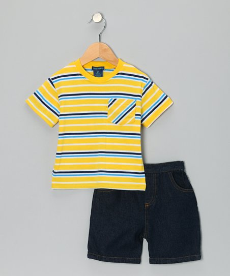 Yellow Stripe Pocket Tee & Denim Shorts - Toddler