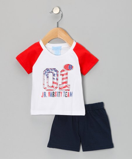Red 'Varsity' Tee & Shorts - infant