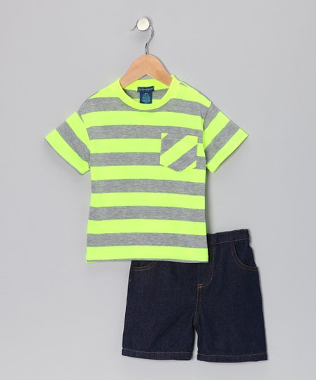 Lime Stripe Pocket Tee & Denim Shorts - Toddler