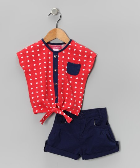 Red & Blue Heart Button-Up Top & Shorts - Toddler