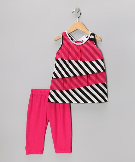 Hot Pink Tiered Ruffle Tunic &amp; Capri Leggings - Toddler &amp; Girls