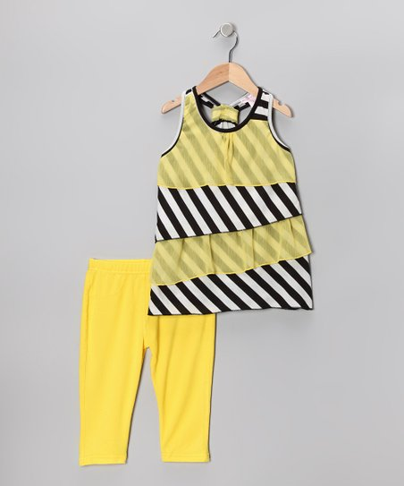 Yellow Tiered Ruffle Tunic & Capri Leggings - Toddler & Girls