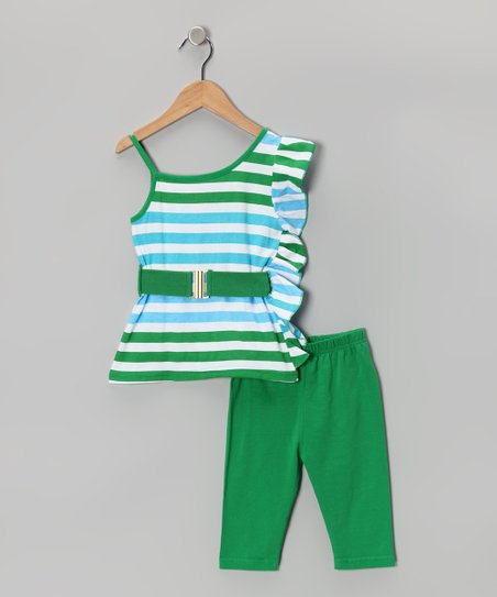 Green Stripe Ruffle Tunic & Capri Leggings - Girls