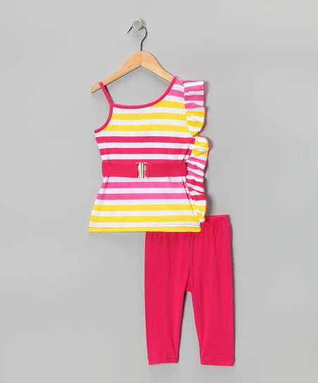 Hot Pink Stripe Ruffle Tunic & Capri Leggings - Girls