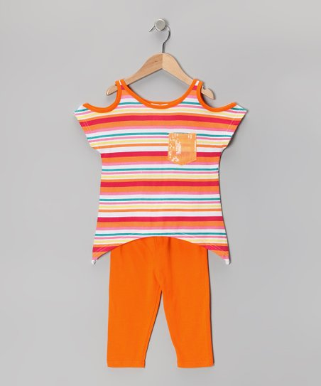 Orange Stripe Cutout Sidetail Tunic &amp; Capri Leggings - Toddler