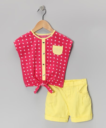 Pink & Yellow Heart Button-Up & Shorts - Girls