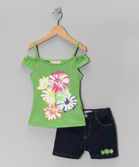 Green Daisy Top & Denim Shorts - Girls
