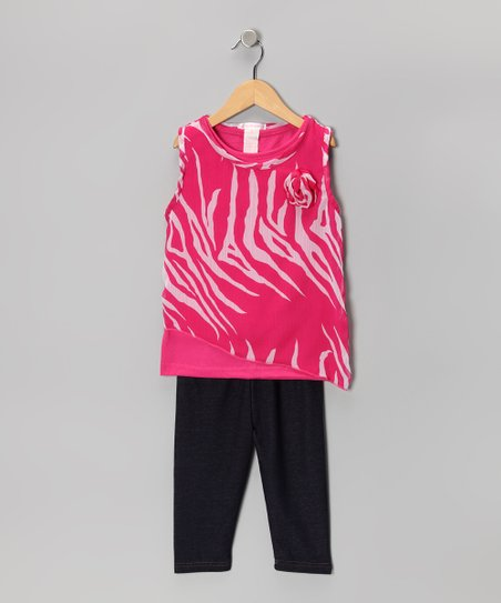 Pink Zebra Layered Tunic & Leggings - Infant