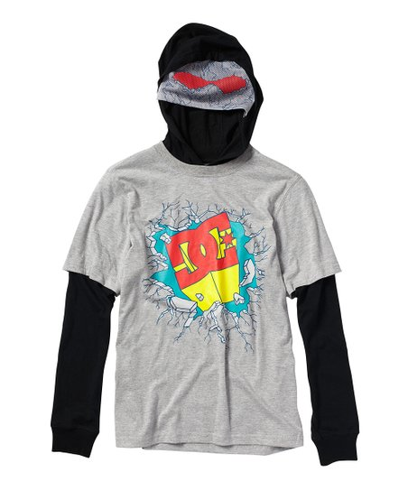 Heather Gray Super 'DC' Hooded Layered Tee - Boys