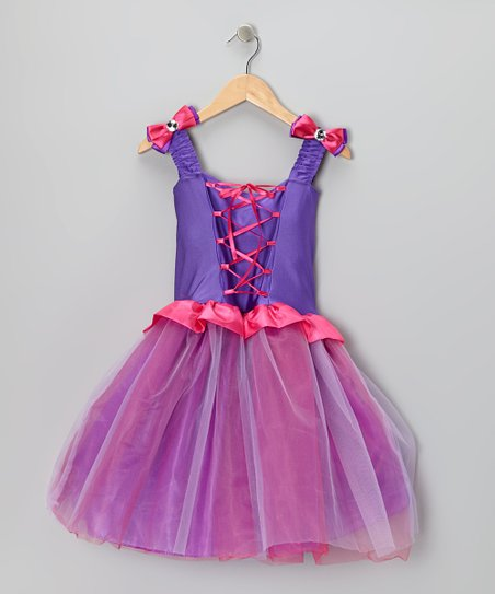 Purple & Blue Crystal Lace Dress - Toddler & Girls
