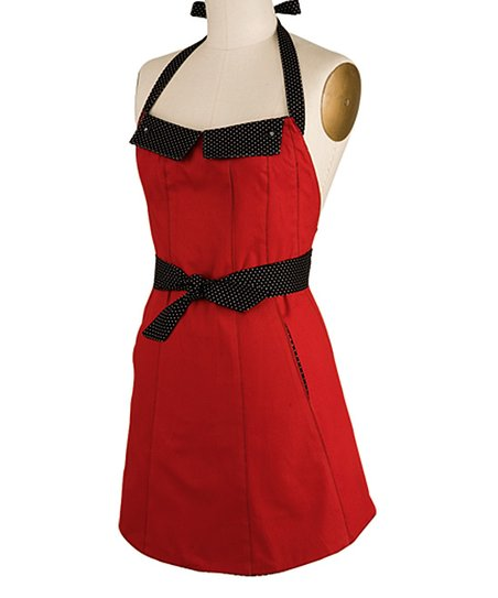 Red Reversible Flap Apron - Women