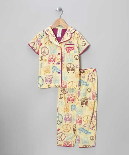 Sand Retro Bus Classic Pajama Set - Infant, Toddler & Girls