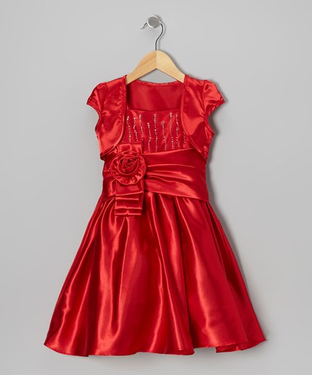 Red Tiered Sash Dress & Shrug - Girls