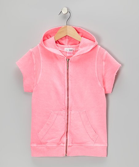 Pink '95' Zip-Up Hoodie - Girls