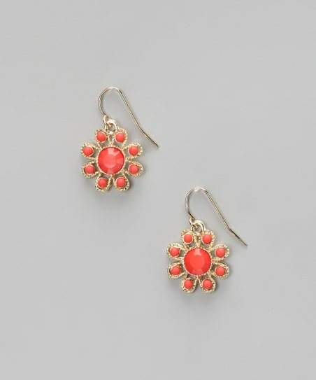 Coral & Gold Flower Earrings