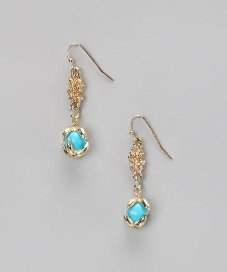 Turquoise & Gold Claw-Foot Earrings