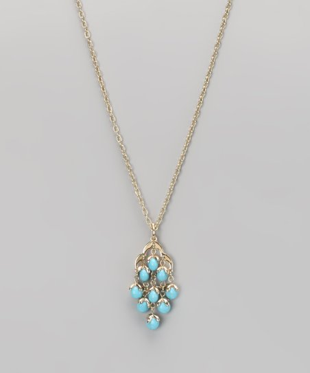 Turquoise & Gold Chandelier Pendant Necklace