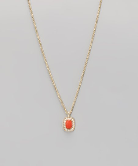 Coral &amp; Gold Pendant Necklace