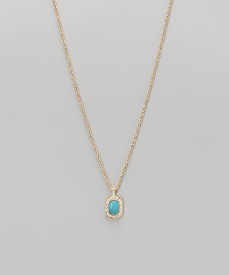 Turquoise & Gold Pendant Necklace