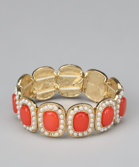 Coral &amp; Gold Beaded Stretch Bracelet