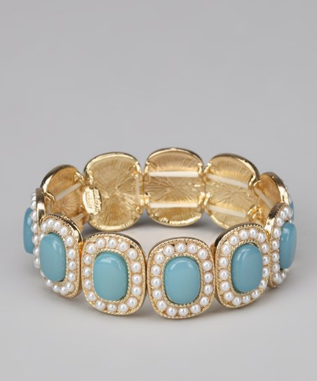 Turquoise & Gold Beaded Stretch Bracelet