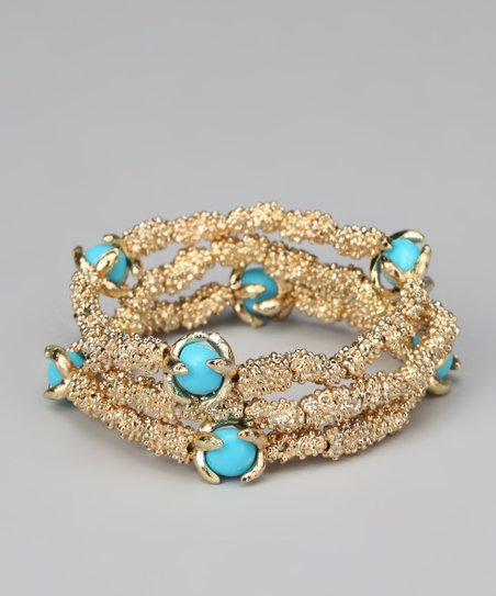 Turquoise & Gold Stretch Bracelet Set