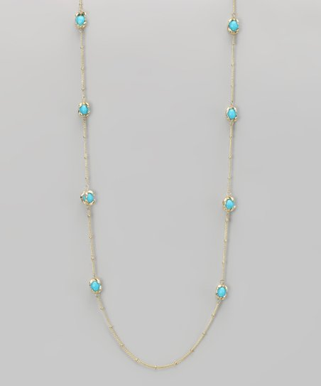 Turquoise & Gold Claw-Foot Necklace