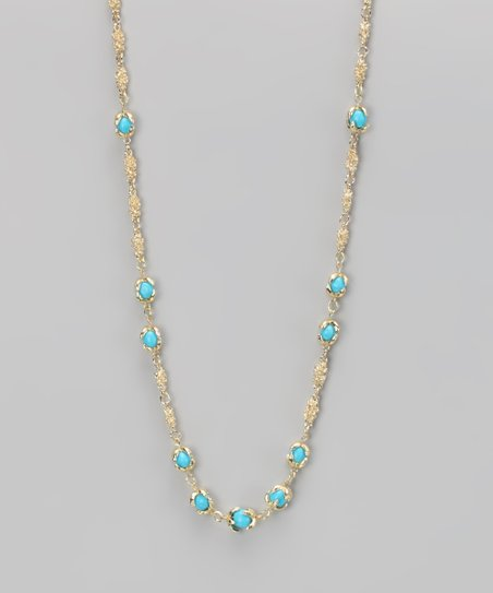 Turquoise & Gold Claw Necklace