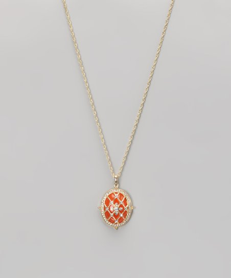 Coral & Gold Victorian Pendant Necklace