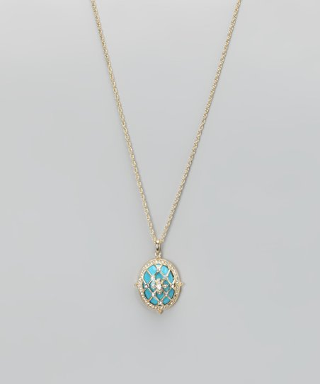 Turquoise & Gold Victorian Pendant Necklace
