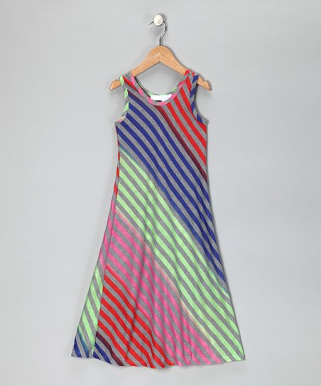 Lime & Pink Stripe Maxi Dress - Toddler & Girls