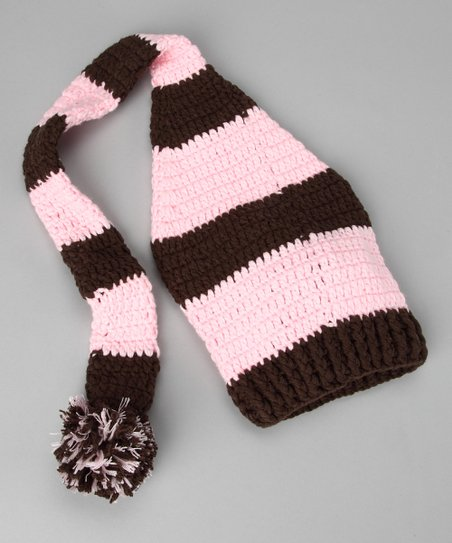 Brown & Light Pink Stocking Beanie - Infant